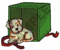 PUPPY OUT OF GIFT BOX embroidery design