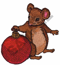 MOUSE AND CHRISTMAS BALL embroidery design