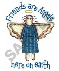 FRIENDS ARE ANGELS embroidery design