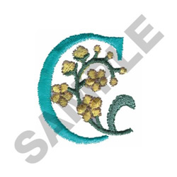 FLOWER LETTER  C embroidery design