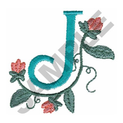 FLOWER LETTER  J embroidery design