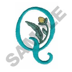FLOWER LETTER  Q embroidery design