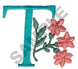FLOWER LETTER  T embroidery design