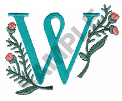 FLOWER LETTER  W embroidery design