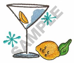 MARTINI W/LEMON AND LIME embroidery design