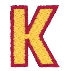2 Color Alphabet K embroidery design