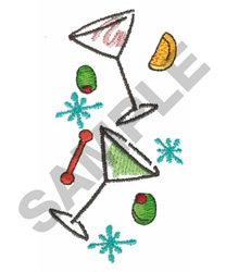 MARTINI GLASSES AND OLIVES embroidery design