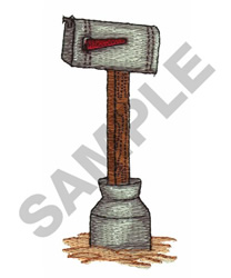 MAILBOX IN A TIN CAN embroidery design