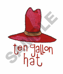 TEN GALLON HAT embroidery design