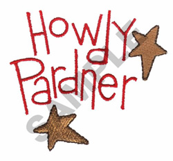 HOWDY PARDNER embroidery design