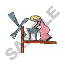 WOMAN WINDMILL embroidery design