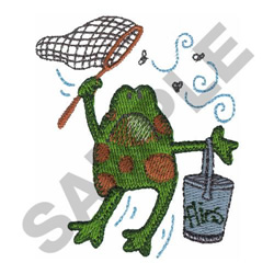 FROG WITH FLIES embroidery design
