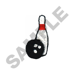 BOWLING BALL AND PIN embroidery design