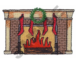 FIREPLACE WITH STOCKINGS embroidery design