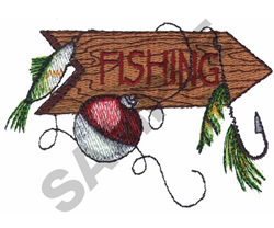 FISHING SIGN AND LURES embroidery design