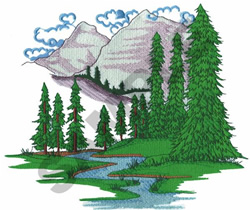 MOUNTAIN WITH A RIVER embroidery design