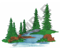 RIVER WITH TREES embroidery design