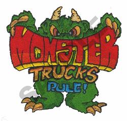 MONSTER TRUCKS RULE! embroidery design