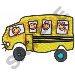 CHILDREN ON SCHOOL BUS embroidery design