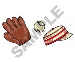 GLOVE, BASEBALL & HAT embroidery design