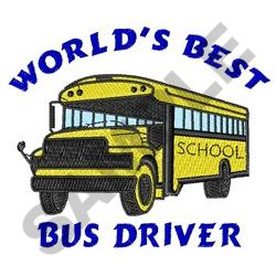 WORLDS BEST BUS DRIVER embroidery design