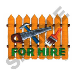 FOR HIRE embroidery design