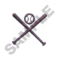 SMALL BASEBALL & BATS embroidery design