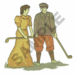 WOMAN AND MAN GOLFER embroidery design