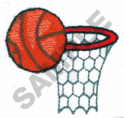 BASKETBALL AND GOAL embroidery design