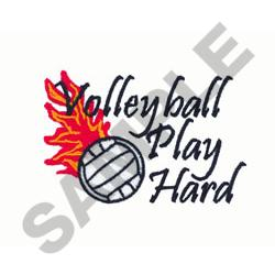 VOLLEYBALL PLAY HARD embroidery design