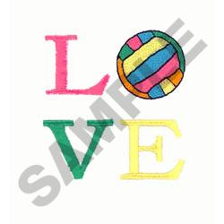 VOLLEYBALL LOVE embroidery design