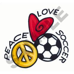 PEACE LOVE SOCCER embroidery design