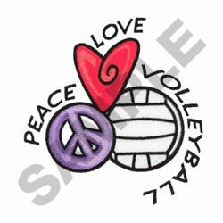 PEACE LOVE VOLLEYBALL embroidery design