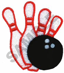 BOWLING BALL AND PINS embroidery design