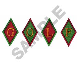 GOLF IN DIAMONDS embroidery design