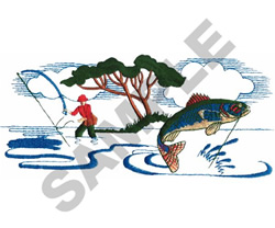 FISHING SCENE embroidery design