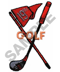 GOLF CLUB AND FLAG embroidery design