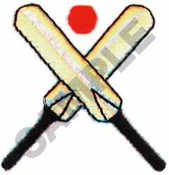 CRICKET BATS & BALL embroidery design