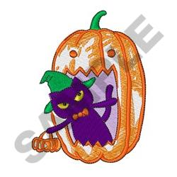 CAT IN JACK O LANTERN embroidery design
