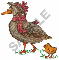 GOOSE WITH BABY DUCKLING embroidery design
