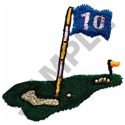 GOLF GREEN-HOLE #10 embroidery design