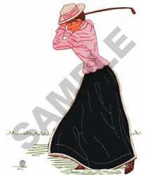 OLD FASHIONED GOLFER embroidery design