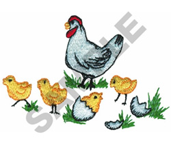CHICKEN WITH HER CHICKS embroidery design