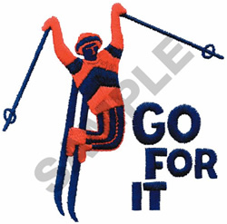 GO FOR IT SKIER embroidery design