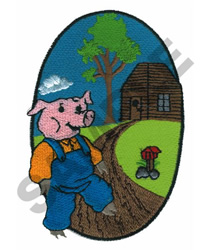 WOOD HOUSE PIG embroidery design