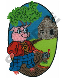 STRAW HOUSE PIG embroidery design