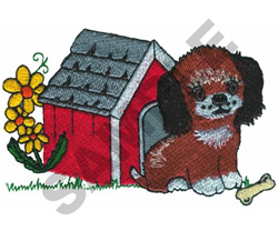 PUPPY IN DOG HOUSE embroidery design
