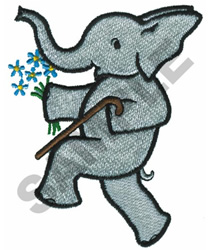 ELEPHANT WITH WALKING CANE embroidery design