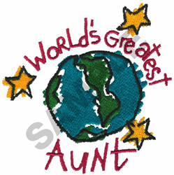 WORLDS GREATEST AUNT embroidery design