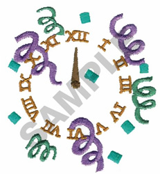 CLOCK WITH DECORATIONS embroidery design